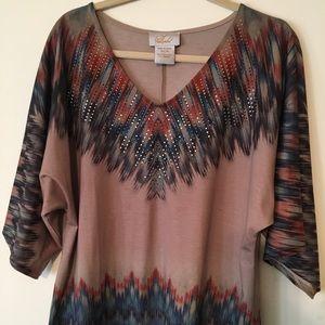 Style-Midnight Velvet Aztec Design Top